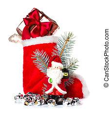 Red Christmas stocking and Santa Claus, Saint Nicholas, holiday ornament
