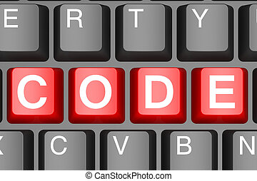 Red code button on modern computer keyboard