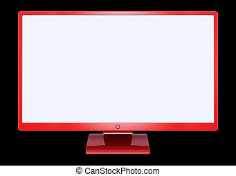 Red computer monitor flat screen wide empty blank display