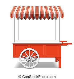 Red farmer's market cart illustration