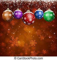red Christmas tree and balls background for NY and Christmas greeting cards