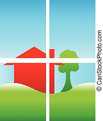 Red house and green hill logo