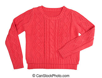 Warm red knitted sweater with a pattern. Isolate on white.