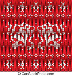 Red knitted sweater with two bells seamless pattern, vector illustration