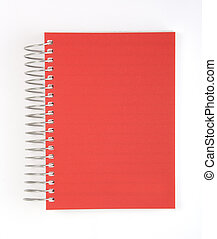 Red notebook against white background