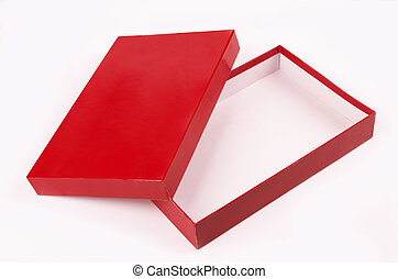 red open empty box isolated over white background