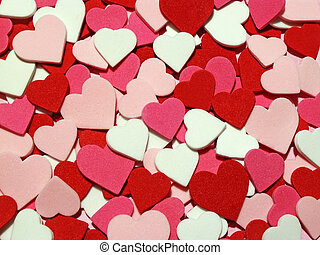 red, pink and white hearts