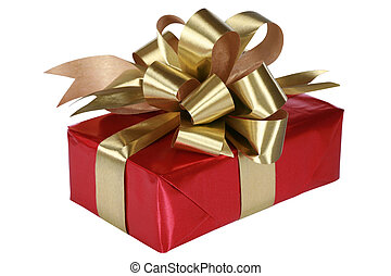 Red present with gold bow and ribbons