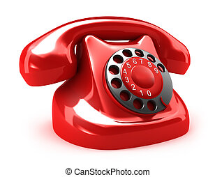Red retro telephone, isolated on white. My own design