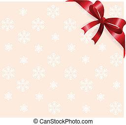 Red ribbon on snowflakes backgroun