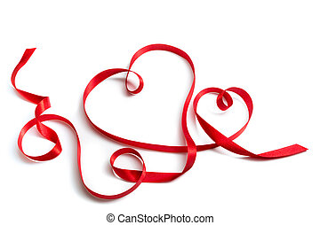 red ribbon that forms a pair of hea