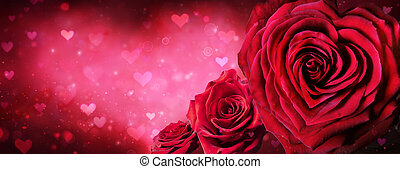 Red Roses In The Shape Of A Heart Valentines Day Banner