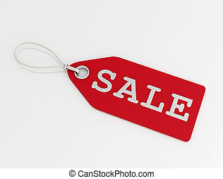 red sale tag isolated on white background