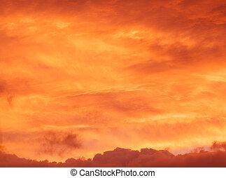 red sunrise cloudscape background