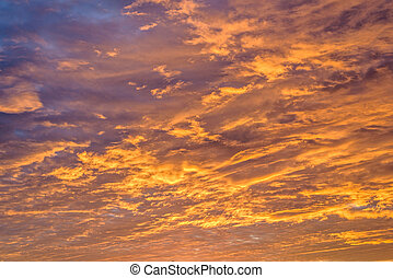 Red sunset with clouds in autumn season