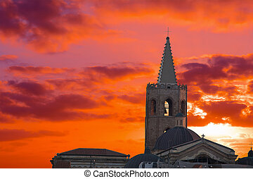 red sunset with clouds over Alghero