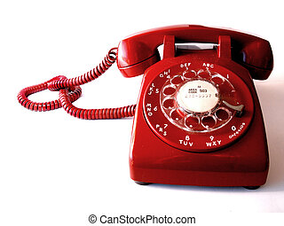 Vintage red, rotary-dial telephone