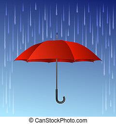Red umbrella and rain drops. Vector illustration