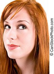 Redhead Girl Looking Up
