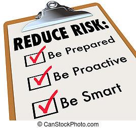 Reduce Risk Be Prepared Proactive Smart Checklist Clipboard