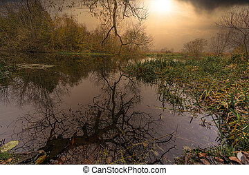 Reflections in a river with a dramatic sunset in the background. Picture from Scania county, southern Sweden.