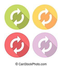 Refresh Arrows Reload Symbol Flat Icons Set