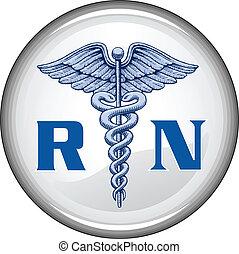 Illustration of a blue registered nurse medical symbol on a white button.