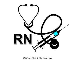 Registered Nurse RN sign with syringe and stethoscope isolated on white background