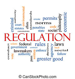 Regulation Word Cloud Concept with great terms such as rules, enforce, government and more.