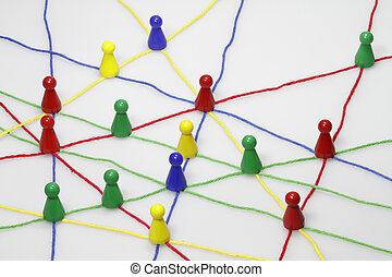 Colorful ribbons create many links and cross each other.
