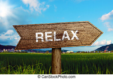 Relax wooden road sign with green grass and blue sky background.