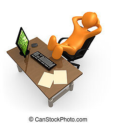 3d person relaxing in the office .