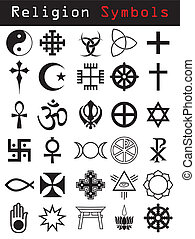 Various religion symbol set in black and white