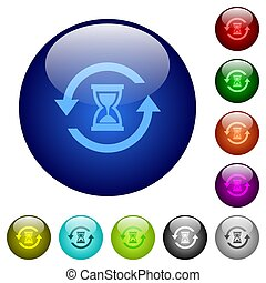 Reload symbol with sandglass color glass buttons