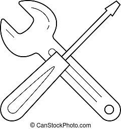 Repair service vector line icon.