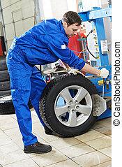 repairman mechanic at wheel replacement