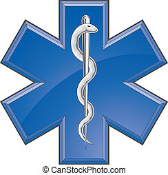 Illustration of a Star of Life rescue or paramedic symbol on a white background.