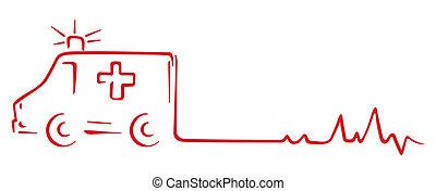 Ambulance and heart beat cardiogram shape
