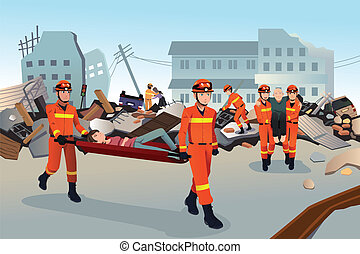 A vector illustration of rescue teams searching through the destroyed buildings during the earthquake