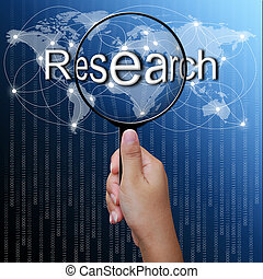 Research, word in Magnifying glass, network background