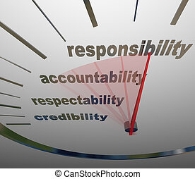 A guage or speedometer measuring your increasing or improving level of Responsibility, Accountability, Respectability or Credibility