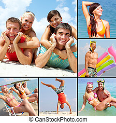 Collage of happy young adults having rest on vacation