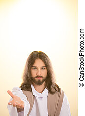 Resurrected Jesus reaching out hand