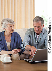 Retired couple looking at their laptop