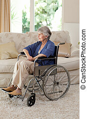 Retired woman in her wheelchair