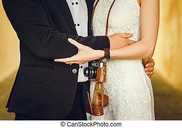 Retro couple standing
