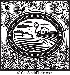 Retro farm in woodcut style. Black and white vector illustration with clipping mask.