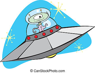 Retro Alien Flying Saucer with friendly Martian.
