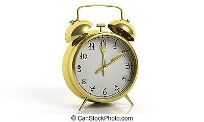 Retro gold alarm clock with knife and fork as poinets, isolated on white background.