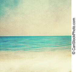 Retro image of sandy beach.